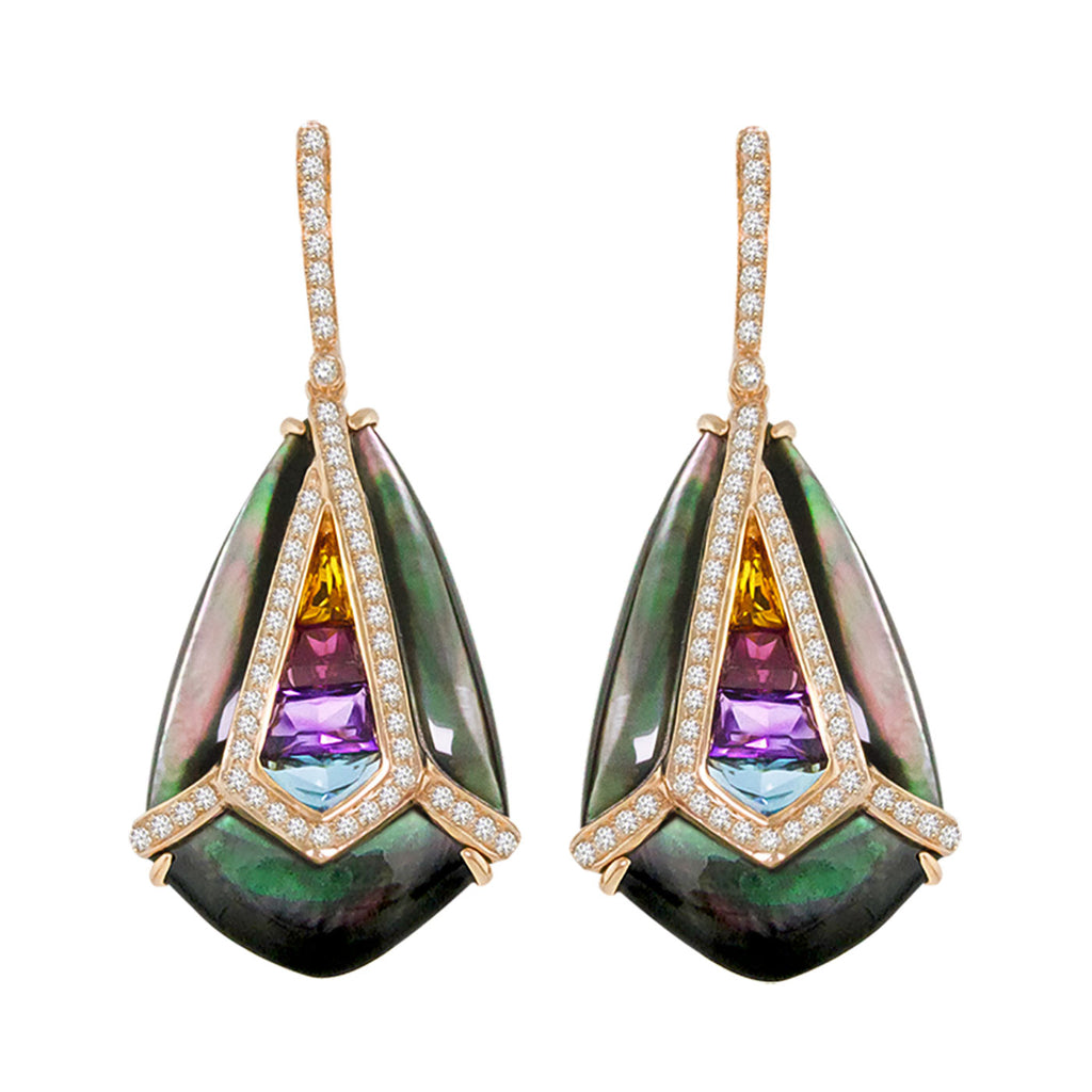 BELLARRI Aladdin Nouveau I Black Mother of Pearl Earrings