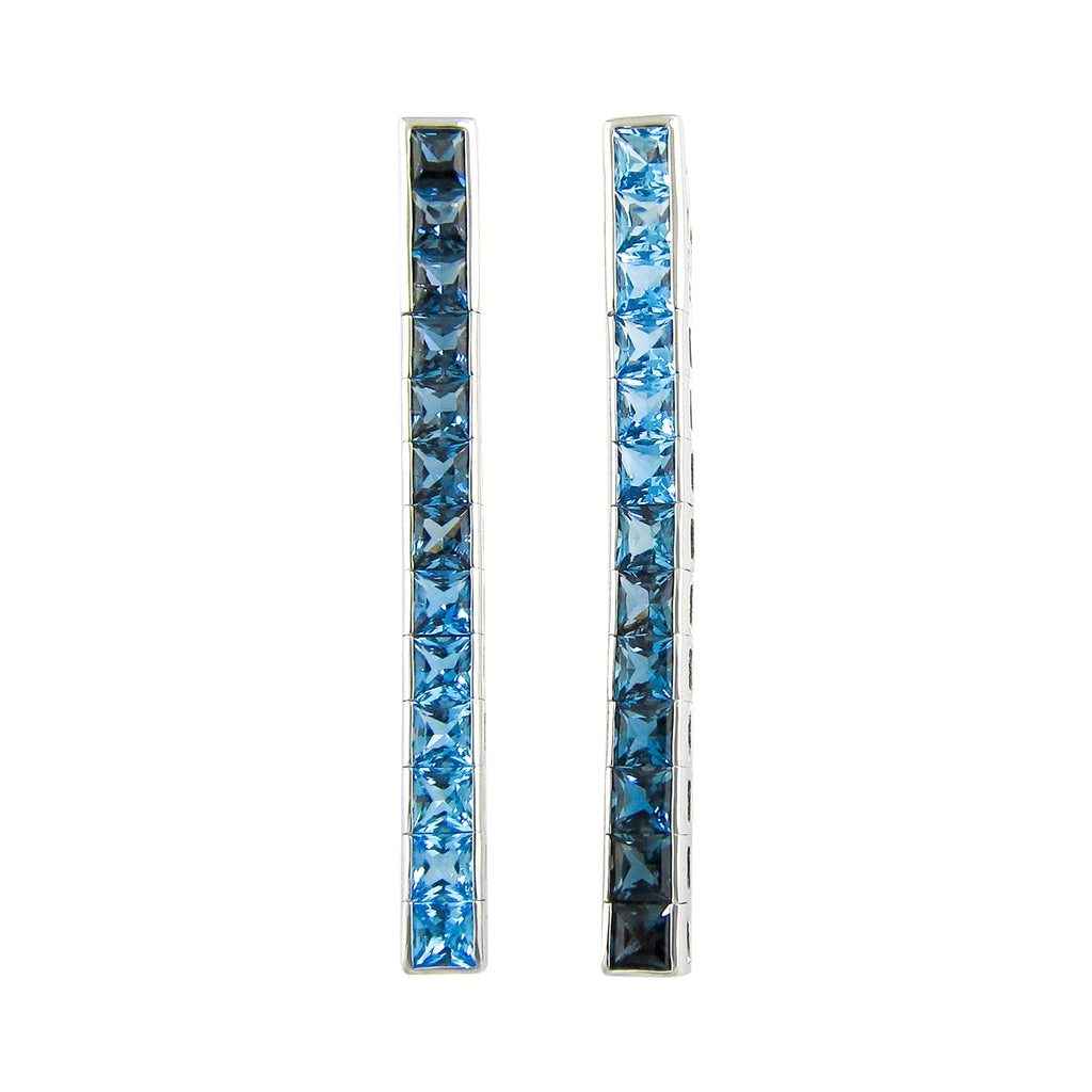 BELLARRI Eternal Love Stiletto - Earrings  (White Gold / Blue Topaz)
