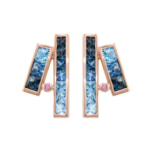 BELLARRI Eternal Love Stiletto - Rose Gold / Blue Topaz - Earrings