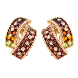BELLARRI Fresco Earrings - Rose Gold, Diamonds, Multi Color Gemstones