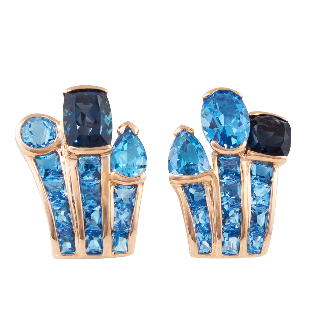 BELLARRI Capri Nouveau Earrings - 14kt Rose Gold, Blue Topaz