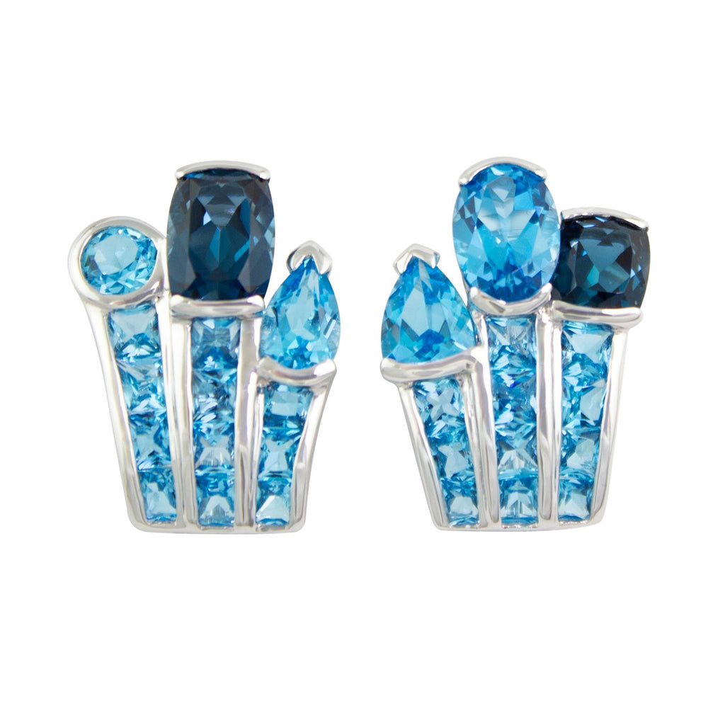 BELLARRI Capri Nouveau Earrings - 14kt White Gold, Blue Topaz