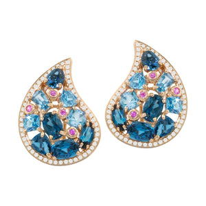 BELLARRI Amore Earrings - 14kt Rose Gold, Diamonds, Swiss Blue Topaz, London Blue Topaz, Pink Sapphires