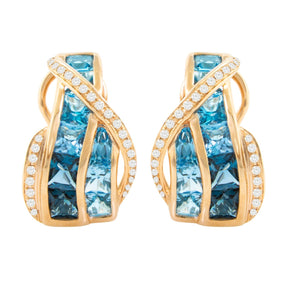 BELLARRI Blue Topaz Earrings (14kt Rose Gold, Blue Topaz, Diamonds)