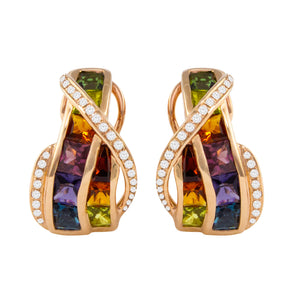 BELLARRI Capri Multi Color Earrings (14kt Rose Gold, Diamonds, genuine gemstones)