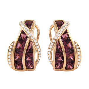 BELLARRI Capri Rhodolite Earrings (14kt Rose Gold, Rhodolite, Diamonds)