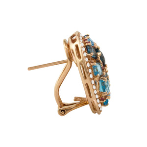 BELLARRI Lily Earrings side view - 14Kt Rose Gold, genuine Diamonds, Swiss Blue Topaz, London Blue Topaz