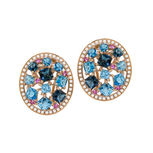 BELLARRI Lily Earrings - 14Kt Rose Gold, genuine Diamonds, Swiss Blue Topaz, London Blue Topaz