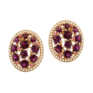 BELLARRI Lily Earrings - 14Kt Rose Gold, Diamonds, Garnet, Rhodolite, Pink Sapphires