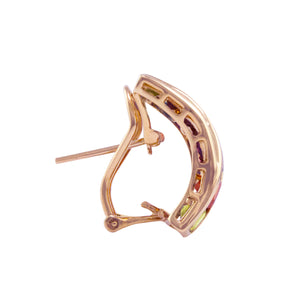 BELLARRI Eternal Love Earrings side view - Rose Gold / Multi Color Gemstone