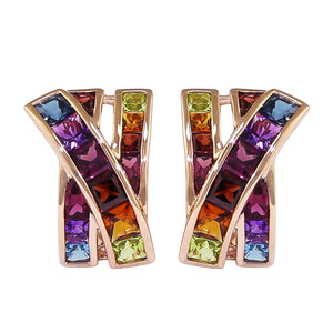 BELLARRI Eternal Love Earrings - Rose Gold / Multi Color Gemstone