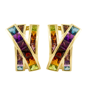 BELLARRI Eternal Love - Earrings (Yellow Gold / genuine Multi Color Gemstone)