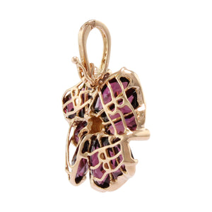 BELLARRI Mademoiselle - Enhancer (Rose Gold / Rhodolite ). Approximately 28mm height (with Diamond bale) x 18mm width. View of back.