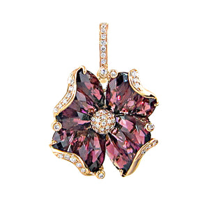 BELLARRI Mademoiselle - Enhancer (Rose Gold / Rhodolite ). Approximately 28mm height (with Diamond bale) x 18mm width.