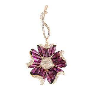 BELLARRI Mademoiselle - Enhancer (Rose Gold with Rhodolite Gemstones). Approximately 59mm height (with Diamond bale) x 27mm width.