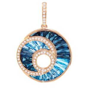 BELLARRI The Cove - Enhancer (14kt Rose Gold, Diamonds, Blue Topaz, gemstones are channel set in a concave manner.)