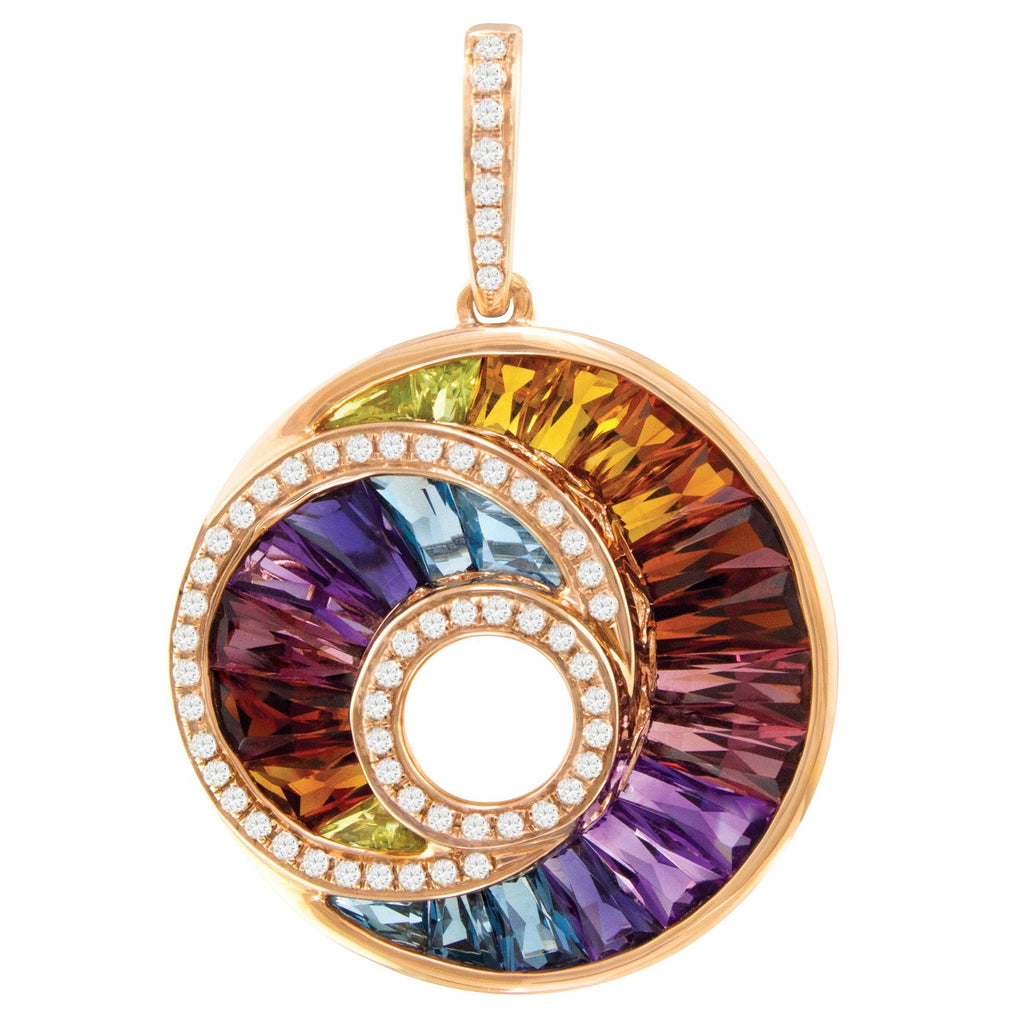 BELLARRI The Cove - Enhancer (14kt Rose Gold, Diamonds, Multi Color Gemstones which are channel set in a concave manner)