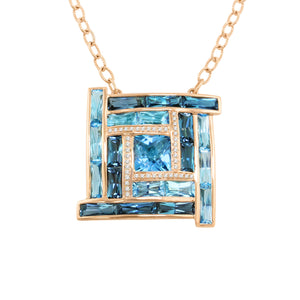 BELLARRI Galaxy of Love - Necklace (Rose Gold / Diamonds / Blue Topaz)