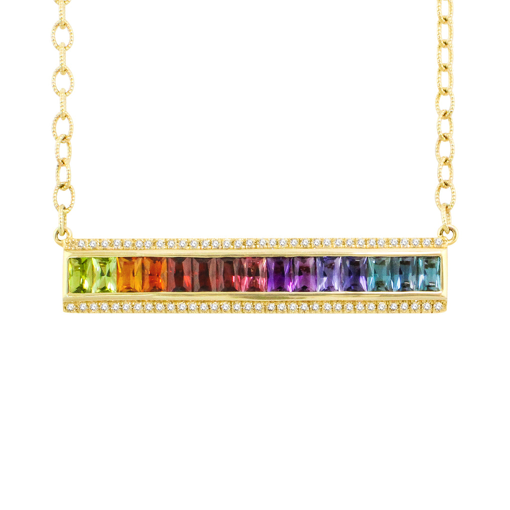 BELLARRI Eternal Love - Necklace (Yellow Gold / Multi Color Gemstone). Necklace is 16 inches in length. Attached pendant is approximately 46mm length x 8mm width.