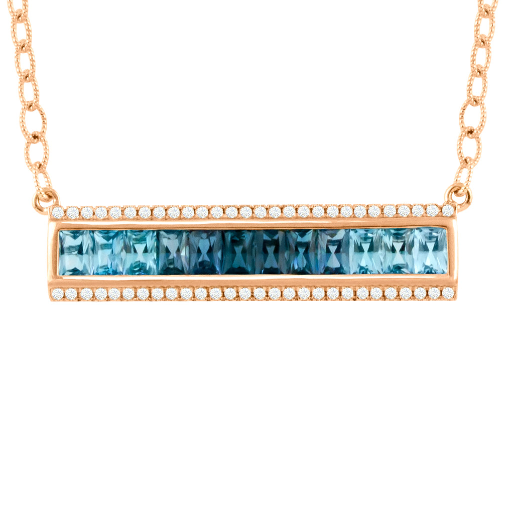 BELLARRI Eternal Love - Necklace (Rose Gold / Blue Topaz) Approximately 36mm length x 9mm width.