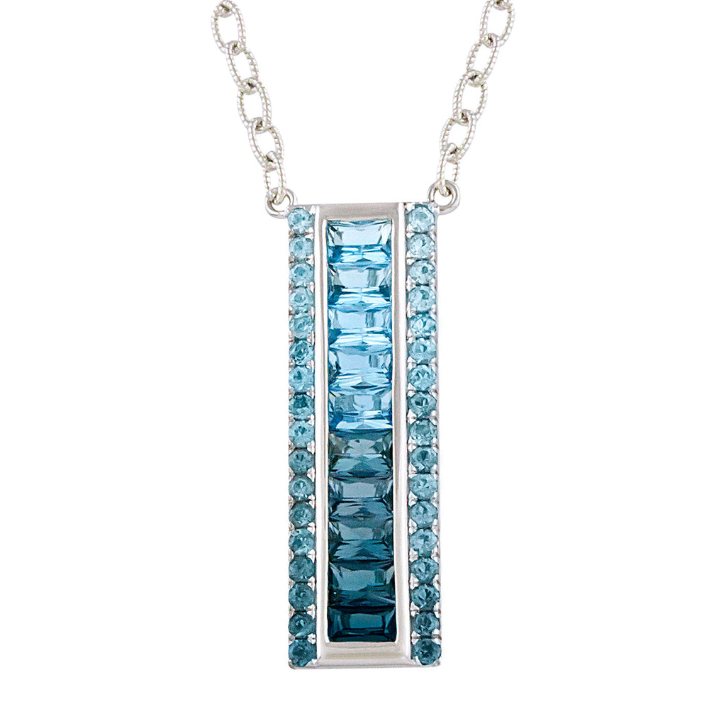 BELLARRI Eternal Love - Necklace (White Gold / Blue Topaz) vertical pendant