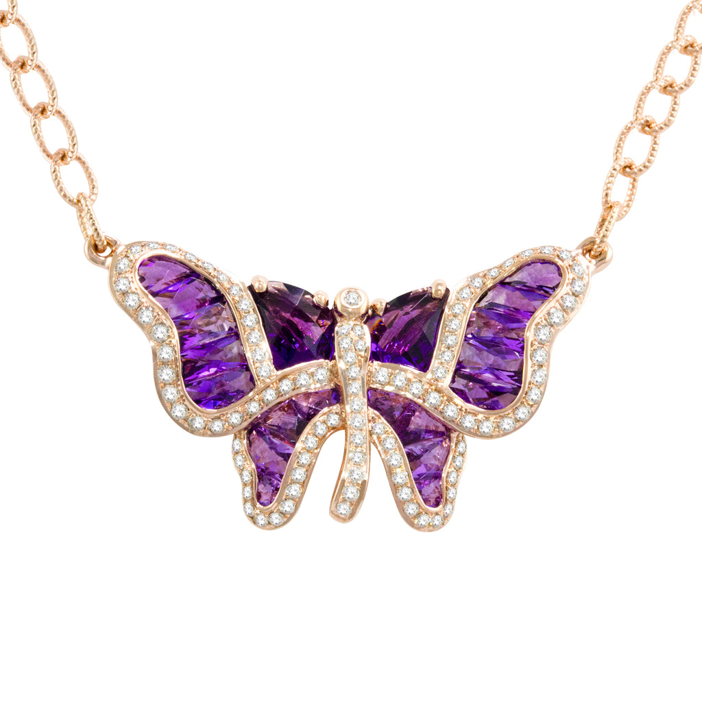 BELLARRI Madame Butterfly - Necklace (Rose Gold / Diamonds /Amethyst)