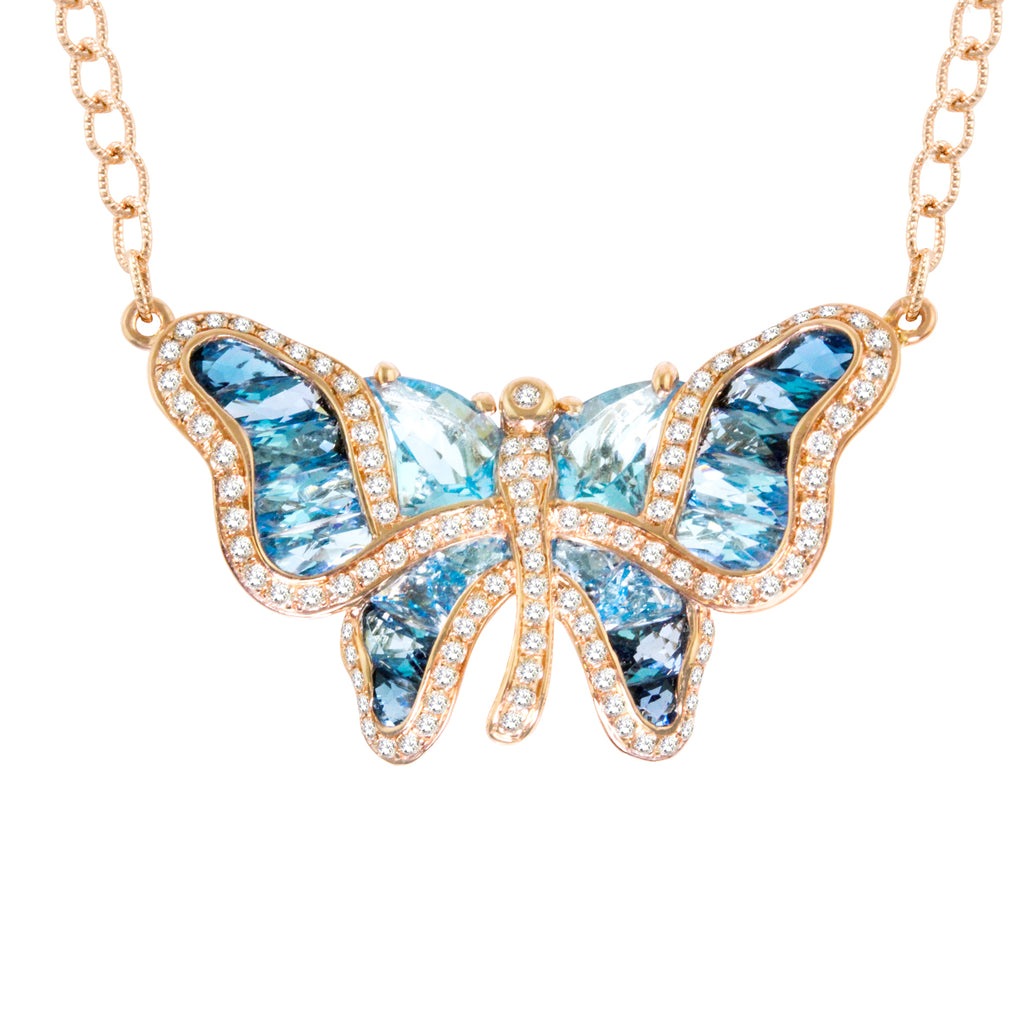 BELLARRI Madame Butterfly - Necklace (Rose Gold / Diamonds /Blue Topaz)