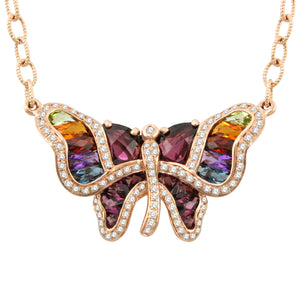 BELLARRI Madame Butterfly - Necklace (Rose Gold / Multi Color Gemstones / Diamonds)
