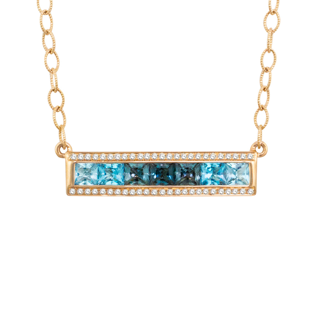 BELLARRI Eternal Love - Necklace (Rose Gold / Blue Topaz). Approximately 29mm length x 6mm width.