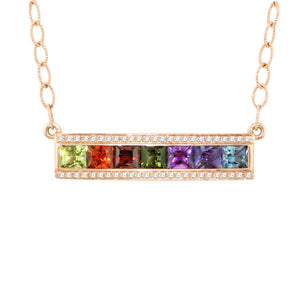 BELLARRI Eternal Love - Rose Gold / Multi Color Gemstone - Necklace