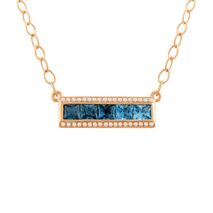 BELLARRI Eternal Love - Necklace (Rose Gold / Blue Topaz). Approximately 21mm length x 6mm width.