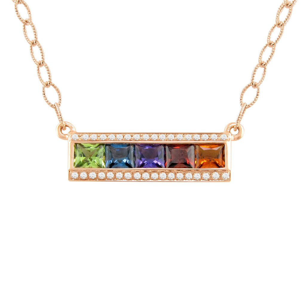BELLARRI Eternal Love - Rose Gold / Multi Color Gemstone - Necklace2