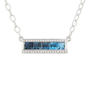 BELLARRI Eternal Love - Necklace (White Gold / Blue Topaz / Diamonds) horizontal pendant