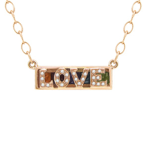 BELLARRI Eternal Love - LOVE Necklace. Rose Gold. (reversible / back view)
