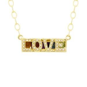 BELLARRI Eternal Love - LOVE Necklace (reversible/back view). Yellow Gold.