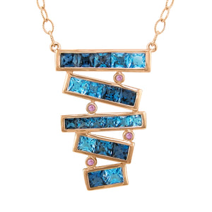 BELLARRI Eternal Love Stiletto - Necklace  (Rose Gold / Blue Topaz)