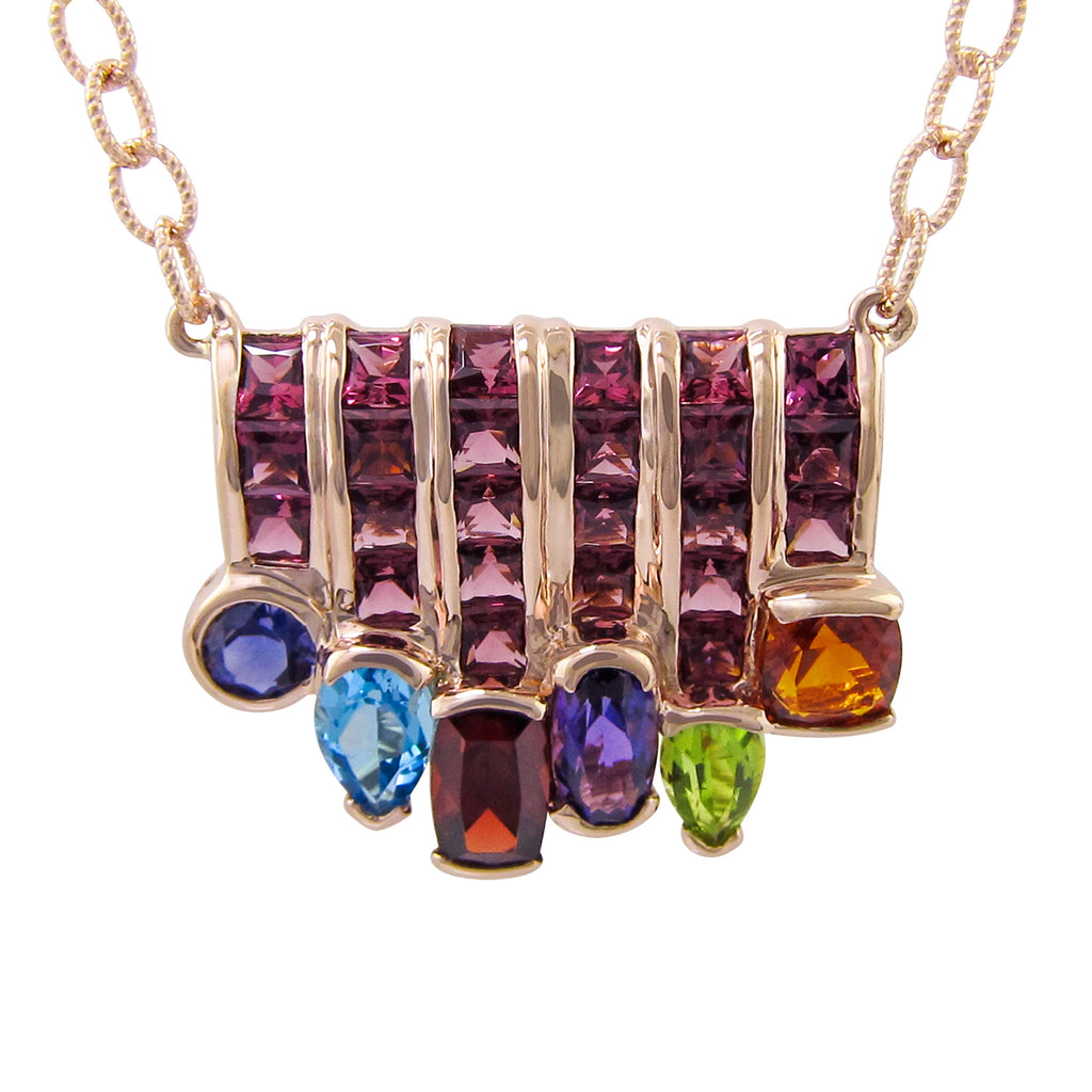 BELLARRI Capri Nouveau Necklace - 14kt Rose Gold, 4.40ct of genuine Multi Color Gemstones and 4.95ct of genuine Rhodolite