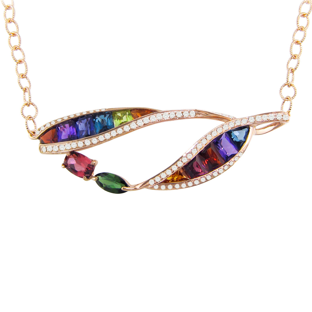 BELLARRI Multi Color Necklace (14kt Rose Gold, genuine Multi Color Gemstones, Diamonds)