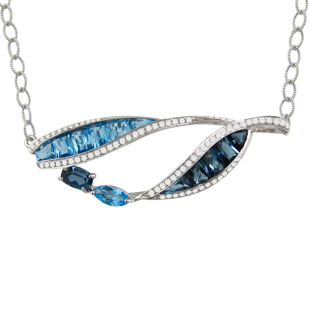 BELLARRI Blue Topaz Necklace (14kt White Gold, Blue Topaz, Diamonds)