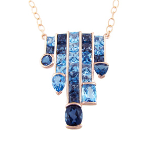 BELLARRI Capri Nouveau Necklace - 14kt Rose Gold, Blue Topaz