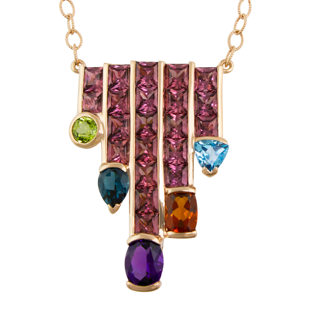 BELLARRI Capri Nouveau Necklace - 14kt Rose Gold, Rhodolite, Multi Color Gemstones