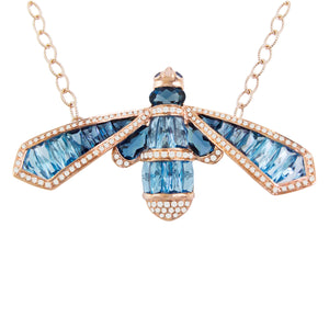 BELLARRI Queen Bee Necklace - 14kt Rose Gold, genuine Diamonds, Swiss Blue Topaz, London Blue Topaz, Sapphires