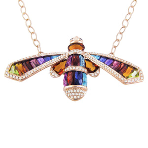 BELLARRI Queen Bee Necklace - 14kt Rose Gold, genuine Diamonds, genuine Multi Color Gemstones