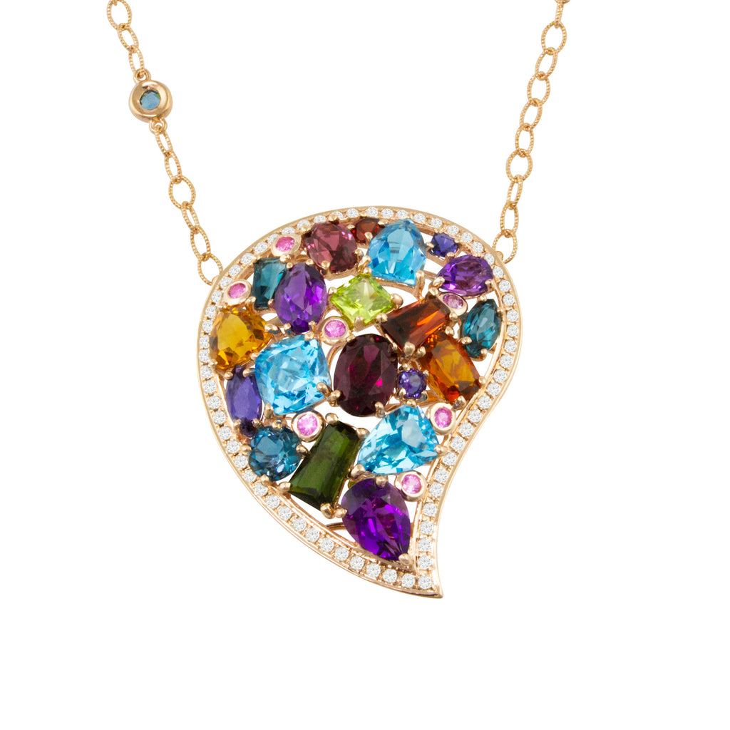 BELLARRI Amore Necklace - Rose Gold, Multi Color Gemstones, Diamonds