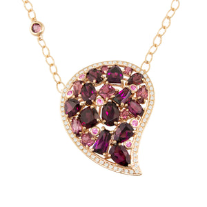 BELLARRI Amore Necklace - 14ky Rose Gold, Rhodolite, Pink Sapphires, Diamonds