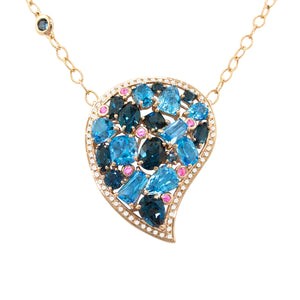 BELLARRI Amore Necklace - 14kt Rose Gold, Blue Topaz, Pink Sapphires, Diamonds