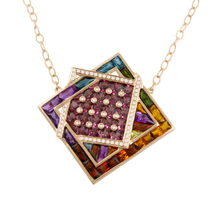BELLARRI Fresco Necklace - Rose Gold, Diamonds, Multi Color Gemstones