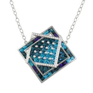 BELLARRI Fresco Necklace - White Gold, Diamonds, Blue Topaz, Iolite