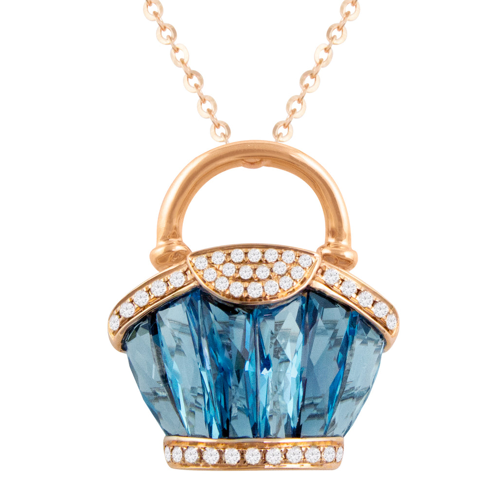 BELLARRI Ava - Necklace (Rose Gold / Diamonds / Blue Topaz)