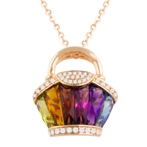 BELLARRI Ava - Necklace (Rose Gold / Diamonds / Multi Color Gemstones)